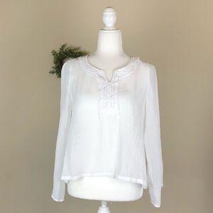 ZAC & RACHEL | White Embroidered Tunic Blouse Boho